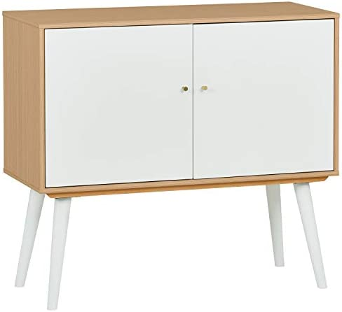 Amazon Brand Rivet Claremont Contemporary Media Cabinet with Tapered Legs, 39 W, Pale Wood and White