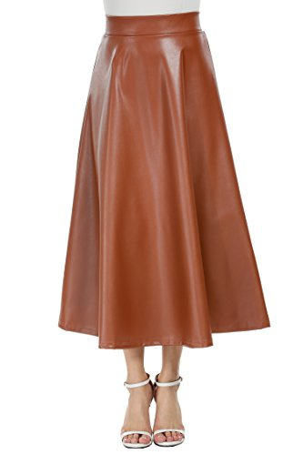 Zeagoo Women Winter Synthetic Leather A-Line High Waist Long Fit Flared Skirt Brown Medium