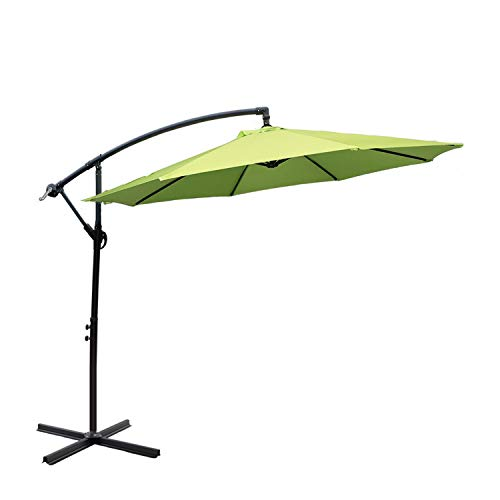 I-Choice 10 ft Offset Hanging Patio Umbrella Outdoor Garden Cantilever Offset Umbrella 8 Ribs W/Crank Lift Adjustment and Cross Base, Apple Green For Sale