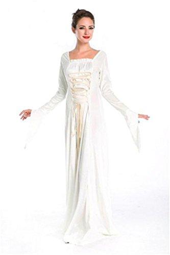 Halloween Blue Velvet Lolita Gothic Renaissance Medieval Mythic Costumes (White)