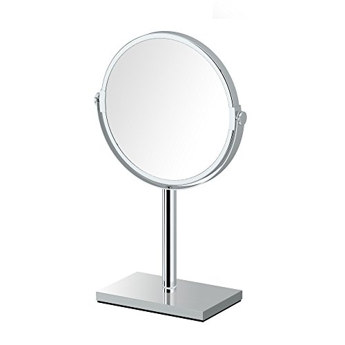 Gatco 1442C Modern Rectangle Base Bathroom Counter Top Vanity 3x Magnification Makeup Mirror, 12.5
