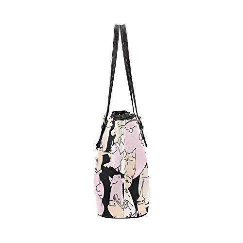 Ladys handväskor Art Fashion Block Comic graffiti läder hand döda väska vardagliga handväskor med dragkedja axel organizer för Lady Girls Womens axelväska