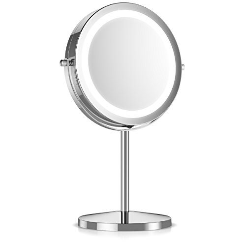 Navaris LED Illuminated Makeup Mirror - Two-Sided Vanity Mirror with Normal and 5x Magnification - 2-in-1 360° Swivel Cosmetics Mirror - Silver