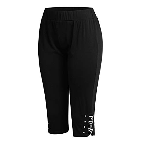 CCatyam Plus Size Yoga Pants for Women, Trousers Print High Waist Leggings Seven Points Fitness Fashion Black
