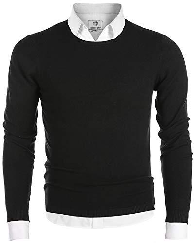 Crewneck Sweaters - MOCOTONO Men's Long Sleeve Crew Neck Pullover Knit Sweater Black Large