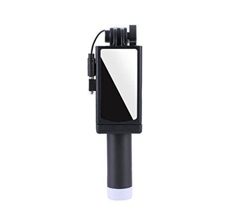 Portable Mini Self-portrait Stainless Steel Rear View Mirror Apple Android Universal Mobile Photo Camera Stick, Travel, Street Shoot, Outdoor Activities (Black, Green, Blue, Pink) ( Color : Black ) by HDWY