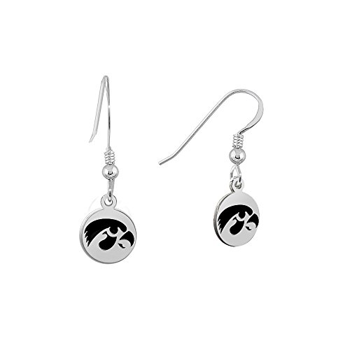 University of Iowa Hawkeyes Satin Finish Small Stainless Steel Disc Charm Earrings - See Model for Size Reference -