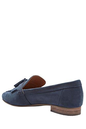 next Mujer Mocasines Flecos Piel Informales Corte Regular Zapatillas Zapatos Azul Marino