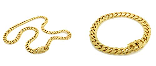 Bling Bling NY Solid 14k Yellow Gold Finish Stainless Steel 10mm Thick Miami Cuban Link Chain Box Clasp Lock (Chain 24'' & Bracelet 8'')