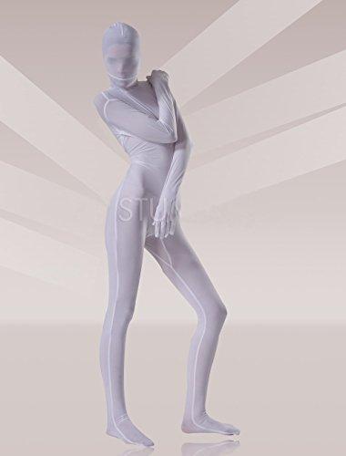 (YUUWA)全身タイツ ベルベット 大人用 ホワイト コスチューム衣装 コスプレ ユニセックス  パーティ/宴会/歓送迎会/クリスマス/ハロウィン/忘年会/余興 /誕生日仮装変装女性XL