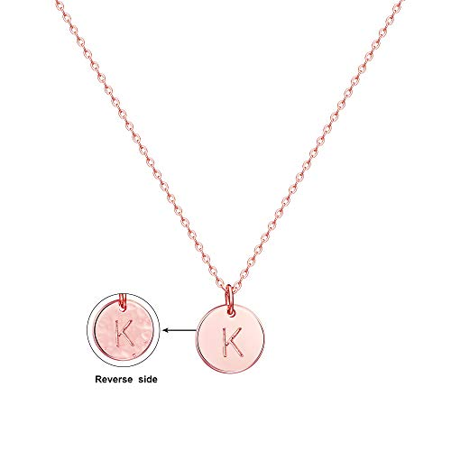Befettly Initial Necklace,14K Rose Gold-Plated Children Necklace Round Disc Double Side Engraved Hammered Name Necklace 16.5'' Adjustable Personalized Alphabet Letter Women Pendant ()
