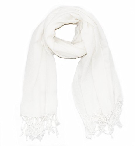 Soophen Pashmina Scarf Beautiful Solid Colors - White