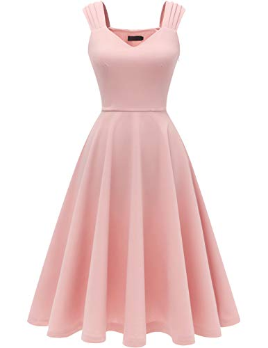 DRESSTELLS Women's Prom Vintage Tea Dress V-Neck Bridesmaid Party Swing Cocktail Dress Blush L