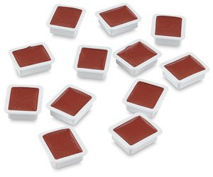 Prang Refill Pans for Oval Watercolor Set, 12 per Box, Red Orange (00810)