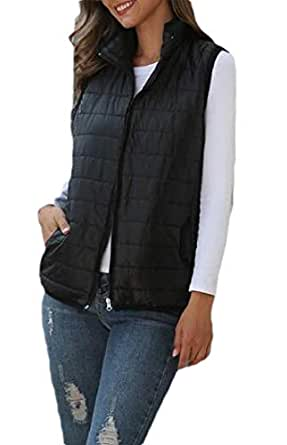 Macondoo Womens Coat Sleeveless Cotton-Padded Quilted Jacket Down Vest Black XXS