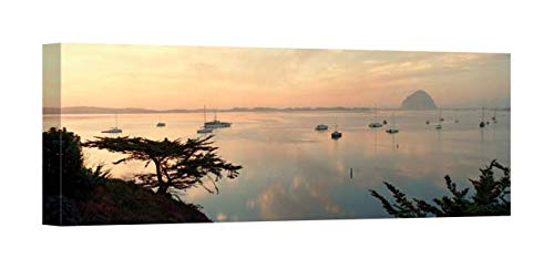 Easy Art Prints Panoramic Images's 'Boats in a Bay, Morro Rock, Morro Bay, San Luis Obispo, California' Canvas Art 30 x 10