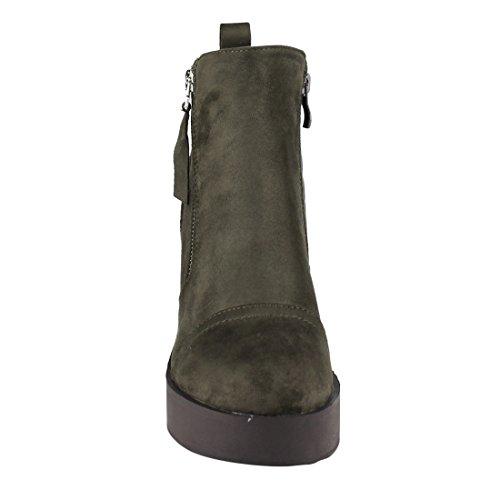 Side Heel Ankle Zipper Block Stacked Olive Platform Womens FM45 Booties Beston PEwTqx6