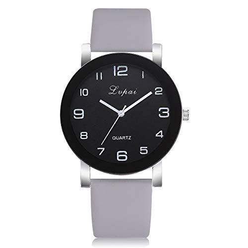 Womens Ladies Classic Simple PU Leather Analog Wrist Watch Casual Dress Quartz Watches Easy to Read Dial (Gray)