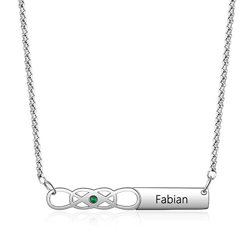 Custom Name Bar Necklace with Simulated Birthstones Personalized Infinity Necklace Celtic Knot Friendship Necklace for - Celtic Necklace Birthstone Heart Pendant