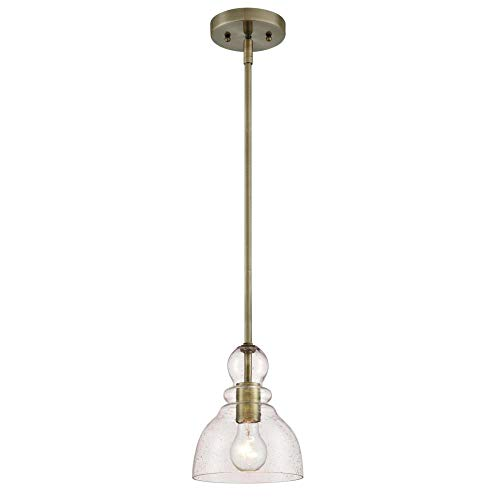 Westinghouse  6356500 One-Light Indoor Mini Pendant, Antique Brass Finish with Clear Seeded Glass