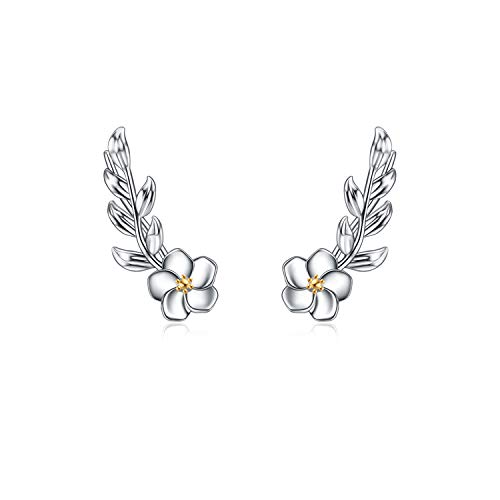 WINNICACA Ear Climber Crawler Earrings Sterling Silver Leaf and Daisy Flower Cuff Earrings for Women Girls Gifts