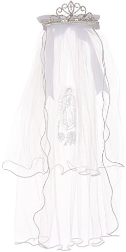 First Communion Veil with Virgin Mary & Crown Shape Flower Girl Tiara White TR T113A