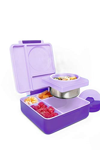 OmieBox Bento Box with Kids Thermos | Leak Proof, Insulated Lunch Box for Kids with 3 Compartments, Two Temperature Zones for Hot & Cold Food - (Purple Plum) (Single) (Best Bento Lunch Box For Kids)