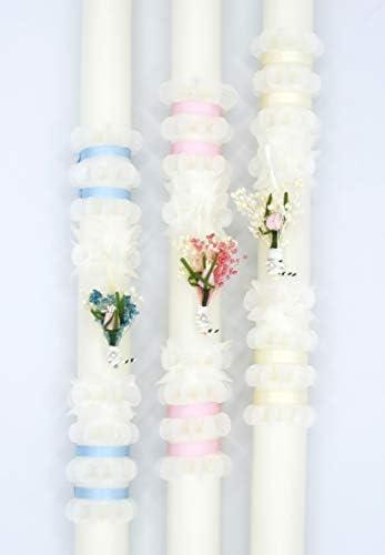 Vela de Bautizo.Posibilidad DE PERSONALIZACIÓN Vela de Bautizo Decorada con un pinzado en Flor clásico y una Cinta Dorada, Puede ser Totalmente Blanca o Bien Pintada en Color Rosa o Azul. (Rosa):