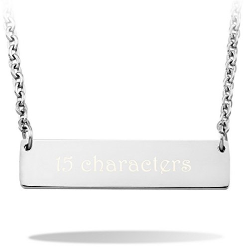 MeMeDIY 30mm Length Silver Tone Stainless Steel Pendant Necklace Rectangular,come with Chain - Customized (Rectangular Womens Necklace)