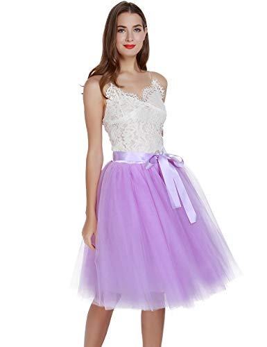 - Women's High Waist Pleated Princess A Line Midi/Knee Length Tutu Tulle Skirt for Prom Party (Free Size, Lavender)