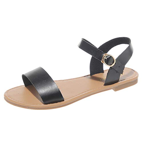 〓Londony〓 Women's Soft Faux Leather Open Toe and Ankle Strap Buckle Summer Sandals for Girl T-Strap Buckle Flats Sandals Black ()