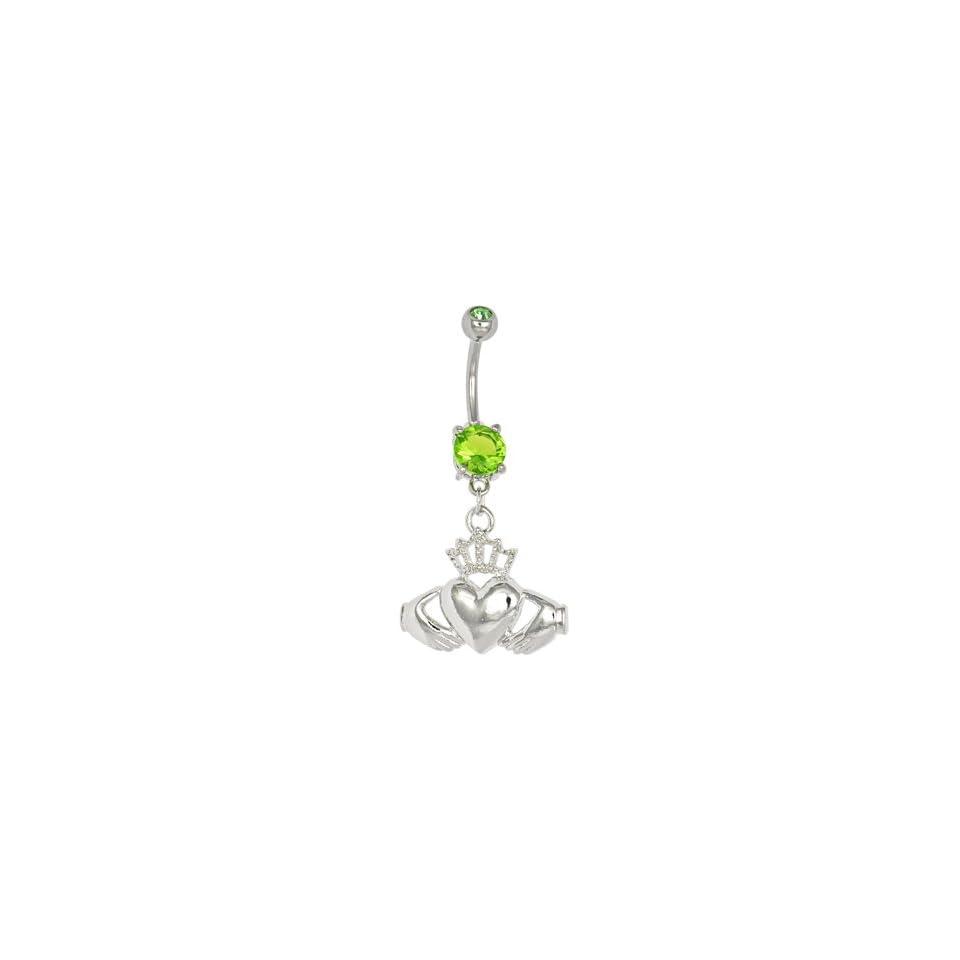 Peridot Green Gem Irish Claddagh Belly Ring