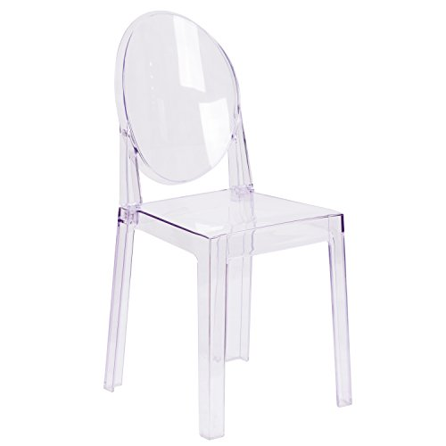 Flash Furniture Ghost Chair with Oval Back in Transparent Crystal (Rolling Chair Acrylic)