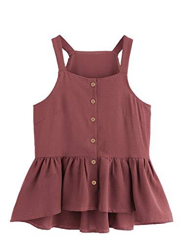 Verdusa Women's Casual Single Breasted Ruffle Hem Racerback Cami Top Shirt Burgundy L