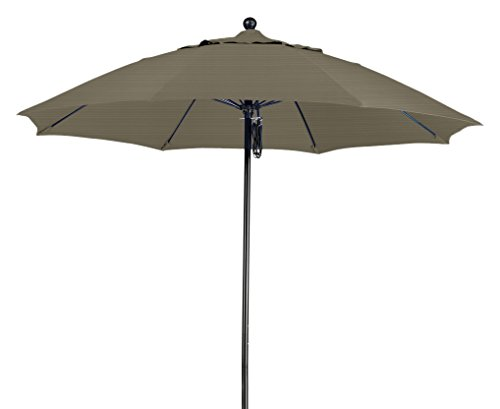 Olefin Terrace - California Umbrella 9' Round 100% Fiberglass Frame Market Umbrella, Push Lift, Black Pole, Terrace Fern Olefin