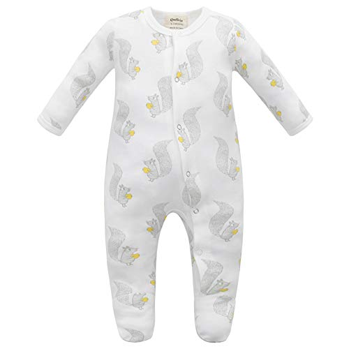 Owlivia Unisex-Baby Organic Button Cotton Sleep N Play Pajamas, Long Sleeve Footed Overall, Boys Girls' Sleeper (6-12 Months, Squirrel) ()