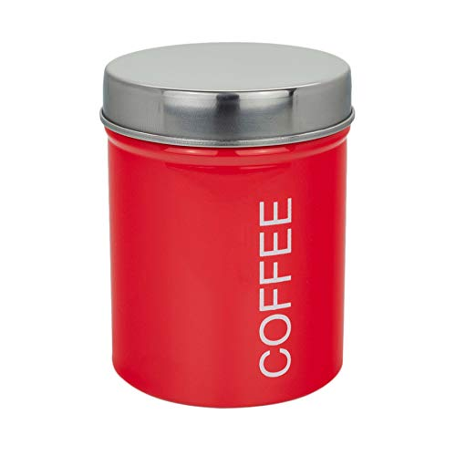 (Harbour Housewares Metal Coffee Canister, Secure Rubber Seal, Red)
