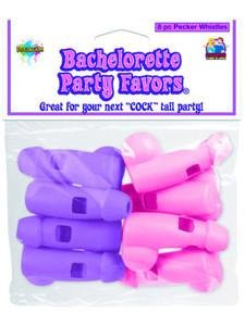 Pipedream Products Bachelorette Party Pecker Whistles, Purple, Pink (8 Pack), 8 Count