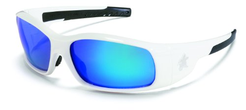 Crews SR128B Swagger Brash Look Polycarbonate Dual Lens Glasses with Polished White Frame and Blue Diamond Mirror Lens