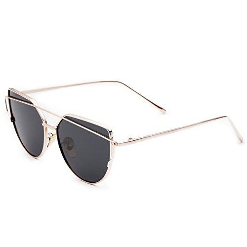 CHB Women's HD Mirrored Cateye Lens Creative Metal Frame Street Fashion Designer Polarized Sunglasses UV400 with Case