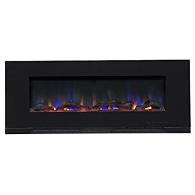 "Touchstone ValueLine 50"" 10-Color, Recessed Wall Electric Fireplace, 50 Inch Wide, Logset & Crystal, 1200W Heat (Black) by Touchstone Home Products"