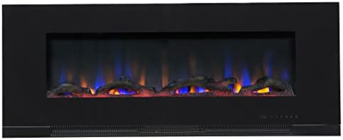 """ValueLine 50"""" 10-Color, in-Wall Recessed, Electric Fireplace, 50 Inch Wide, Logset & Crystal, 1200W Heat (Black)"""