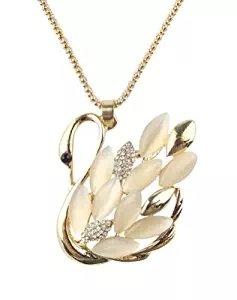 Shower Swan Crystal (Jml Axmerdal Charm Opal Crystal Swan Pendant Necklace Rhinestone Sweater Chain Necklace)