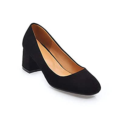 BalaMasa Womens Solid Business Travel Black Urethane Pumps Shoes APL10410-4 B(M) US