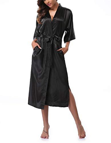 (VOGTORY Women's Satin Robes Pure Color Long Kimono Bathrobes Soft Nightgown Black)
