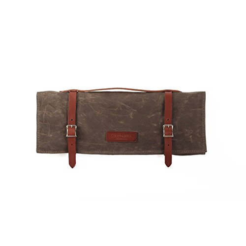 Knife Roll - Waxed Canvas - Dark Oak - Made in USA