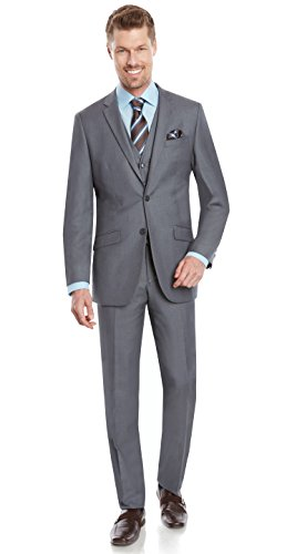 Mens Tight Slim Fit Notched Lapel 3 Piece Suit with Regular-cut Jacket by Taheri Mid Grey 80/20 ()