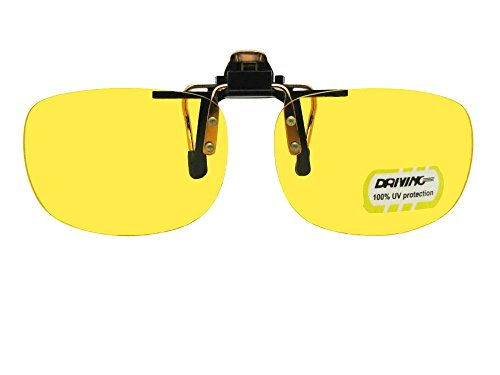 Yellow NON Polarized Rectangular Flip Up Sunglasses (Gold/Black Frame-Non Polarized Yellow Lens, 56mm Width x 40mm - Sunglasses Up Flip Attachment