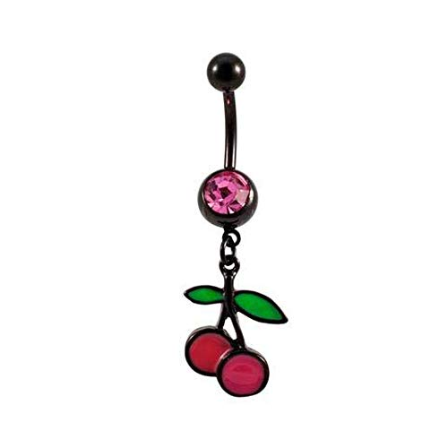 Monster Steel Black Titanium Enamel and Gem Cherries Belly Button Ring