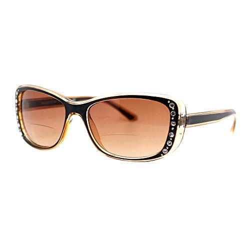 Womens Bifocal Reading Lens Sunglasses Rhinestone Rectangular Frame Brown +2.5 (Brown Glasses Rhinestone Reading)